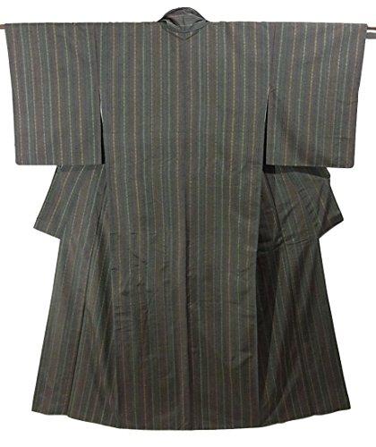 リサイクル 着物 紬 正絹 袷 縞模様 裄63.5cm 身丈161cm