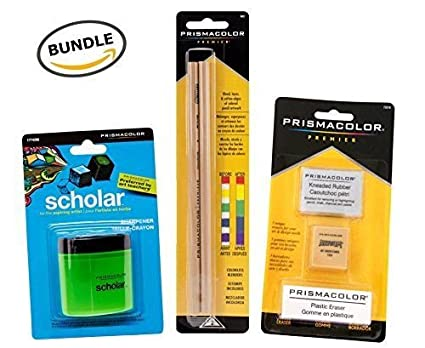 2-pack BUNDLE Prismacolor Blender Pencil Colorless Prismacolor 3 Eraser Set Prismacolor Scholar Colored Pencil Sharpener