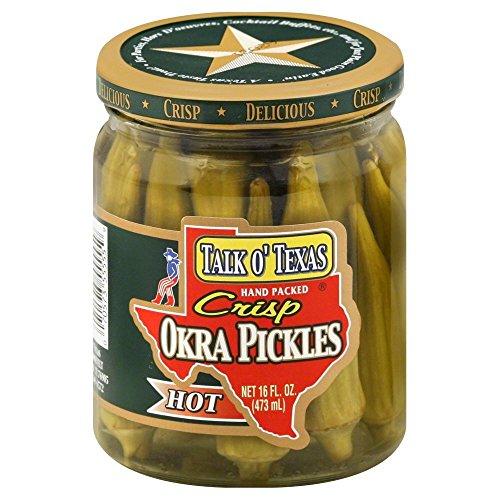(Talk O' Texas Hot Crisp Okra Pickles, 16 Ounce (Pack of 6))