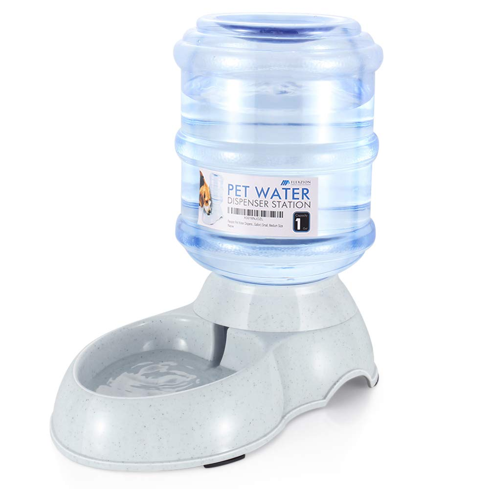 Flexzion Pet Water Dispenser Station Replenish Pet Waterer for Dog Cat Animal Automatic Gravity Water Drinking Fountain Bottle Bowl Dish Stand