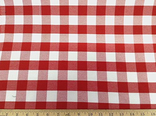 Discount Fabric Upholstery Drapery Twill Red and White Check -