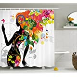 Ambesonne Colorful Home Decor Shower Curtain, Madame Butterfly Modern Version with Spring Spiral Circles Leaf Botany Girl, Fabric Bathroom Decor Set with Hooks, 70 Inches, Multi