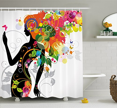 Madame Butterfly Fabric - Ambesonne Colorful Home Decor Shower Curtain, Madame Butterfly Modern Version with Spring Spiral Circles Leaf Botany Girl, Fabric Bathroom Decor Set with Hooks, 75 Inches Long, Multi