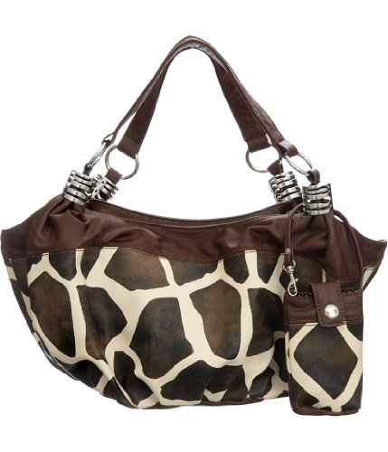 Giraffe Hobo Handbag - Natie Giraffe Print Slouchy Hobo Bag with Matching Cell Phone Holder