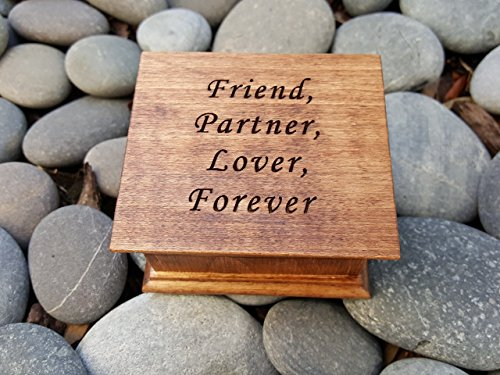 Wooden music box with Friend, Partner, Lover, Forever. You can pick your choice of color and song and also add a personalized message to the underside the box