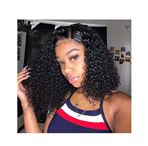 Lotus leaf fragrance Short Curly Lace Front Human Wigs Pre Plucked With Baby Brazilian Remy Bob Lace Front Wigs For Black Women,16inches