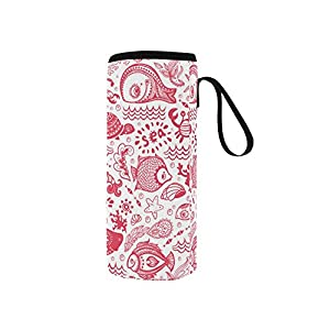 InterestPrint Red Ocean Fish Shell Neoprene Water Bottle Sleeve Insulated Holder Bag 7.04oz-12.67oz, Nautical Turtle Sport Outdoor Protable Cooler Carrier Case Pouch Cover with Handle