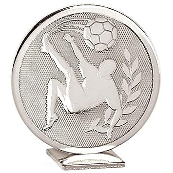 60 mm plata Mundial de Fútbol Plata autoadhesivo pie Medalla ...