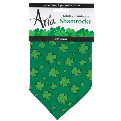 Aria Cotton Green Shamrocks Holiday Dog Bandanas, 22-Inch