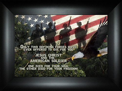 Died For You By Todd Thunstedt 18x24 Patriotic Soldier Military Funeral War Constitution Department of Washington Lincoln Reagan VFW Legion Bald Eagle Framed Art Print Wall Décor Picture