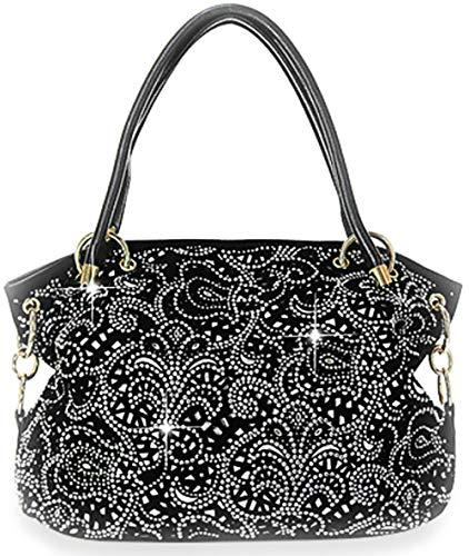 Zzfab Laser Cut Bling Purses Double handle purse Black