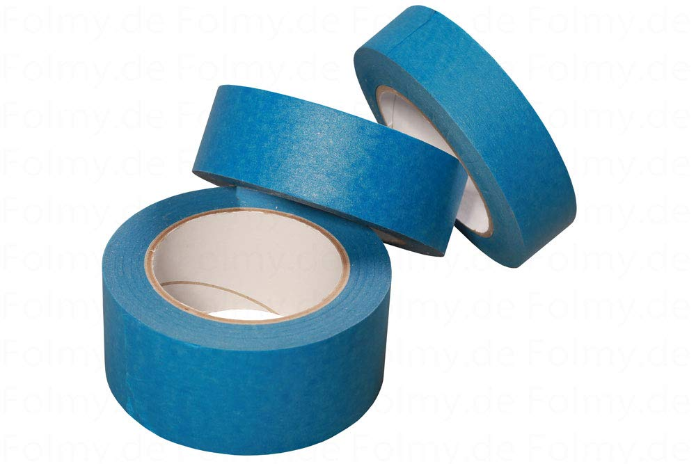 6 Rollen Malerkrepp. 50mm x 50 Meter. Blau. Abklebeband. Kreppband. Abdeckband. Malerband. Klebeband. Malerkreppband Folmy