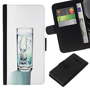 KLONGSHOP // Tirón de la caja Cartera de cuero con ranuras para tarjetas - agua de cristal blanco minimalista dieta limpia - Samsung Galaxy A3 //
