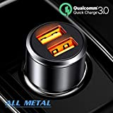 Car Charger, JSAUX 3A Dual USB Ports 36W Fast Car Adapter Aluminum Metal Compatible with Quick Charge 3.0, Samsung Galaxy S9 S8 Plus Note 9 8 S7, iPhone XS Max X 8 7 6, iPad, LG G5 G6 V20, Moto Black