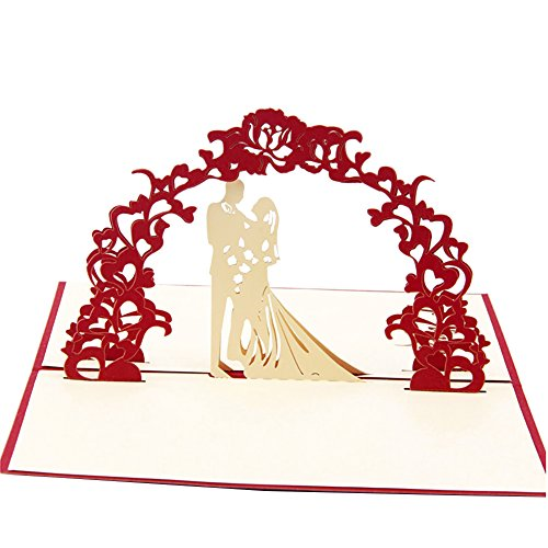Price comparison product image Smartcoco 3D Red Wedding Pop Up Greeting Card Handmade Gift Card for Valentine's Day Birthday Wedding Anniversary Invitation Gift