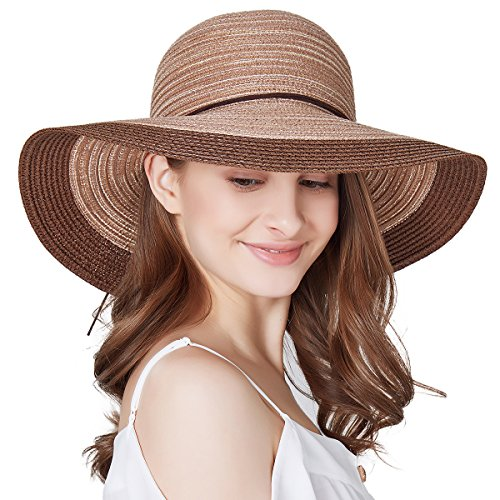SOMALER Women Floppy Sun Hat Summer Wide Brim Beach Cap Packable Cotton Straw Hat for Travel Coffee