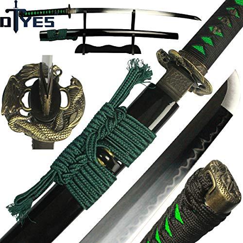 DTYES Full Handmade Japanese Samurai Katana Sword ((Original Katana) T10 Carbon Steel Clay Tempered Blade-Dragon and Snake Tsuba) ()