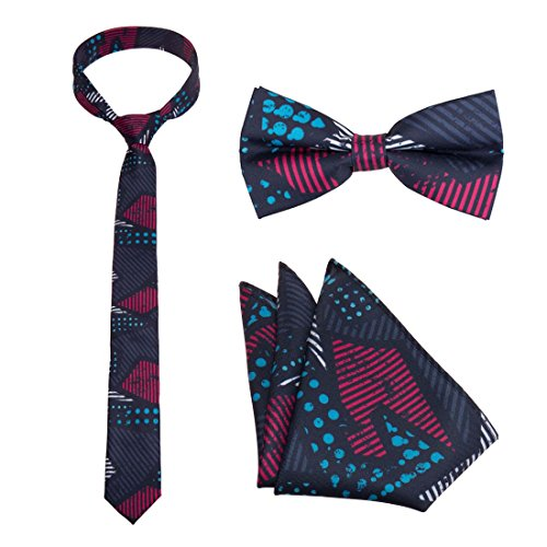 Bundle Monster Mens 3Pc Multicolor Design Necktie Bow Tie Pocket Square Matching Fashion Accessories   Set 2  Anarchy