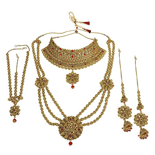 MUCH-MORE Traditional Indian Style Gorgeous Polki Indian Necklace Earrings Bridal Set Jewelry (3146 Red LCT)