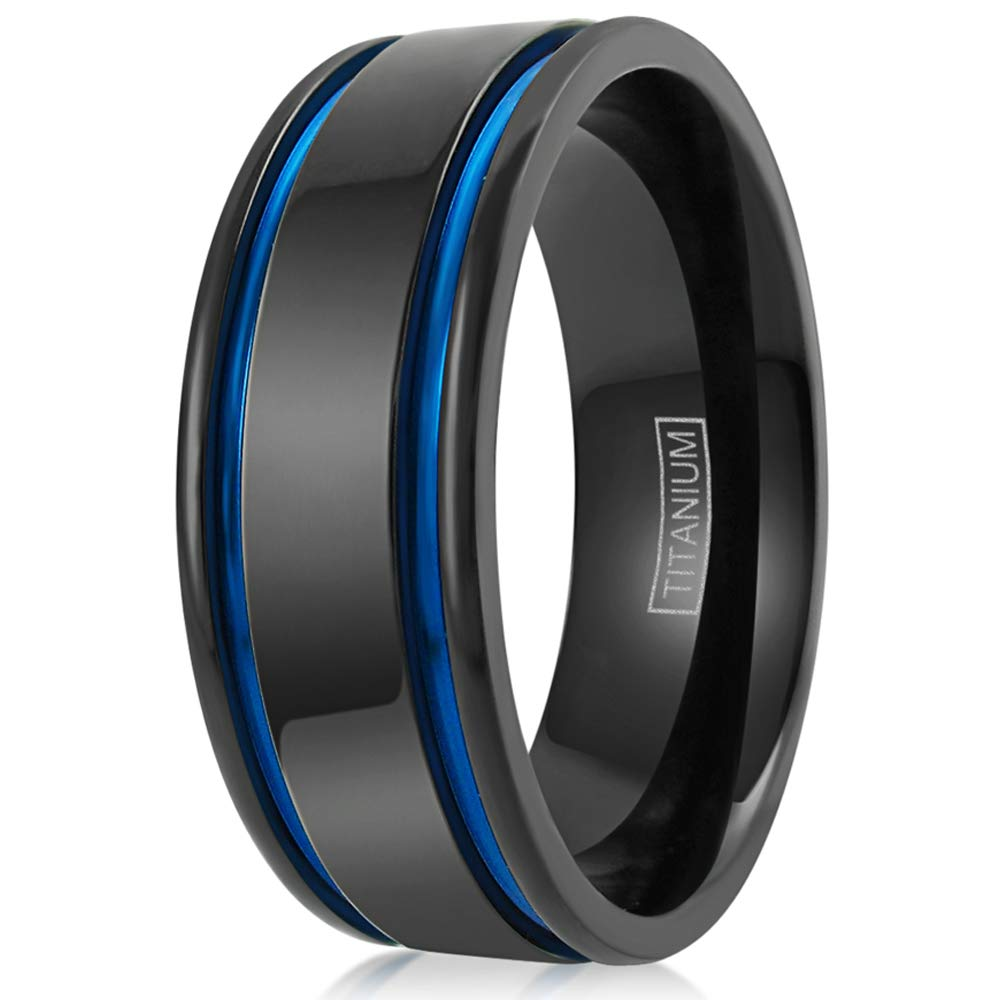 Superlight Contemporary 6mm8mm Flat Gunmetal Black Titanium Band Ring With Two Royal Blue Recessed Racing Stripes Amazon: Wedding Band Gunmetal Blue At Websimilar.org
