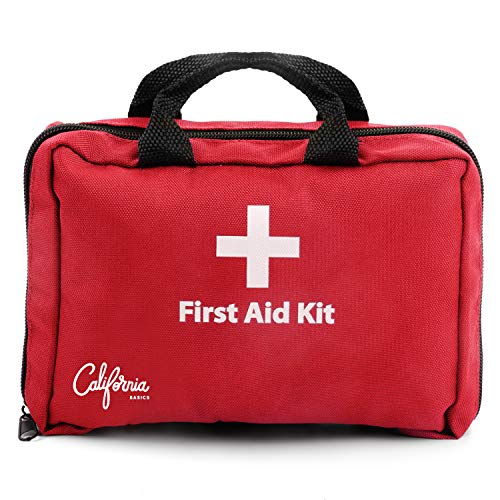 California Basics 115 Piece All-Purpose First Aid Kit for Emergency at Home, Workplace, Car, Outdoors & Travel, Earthquake Survival Medical Kit for Camping, Hiking, EMT Approved, Red (Best All Purpose Kayak)