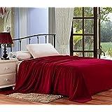 Plazatex Micro Plush Blanket, Solid, Queen, Red Burgundy