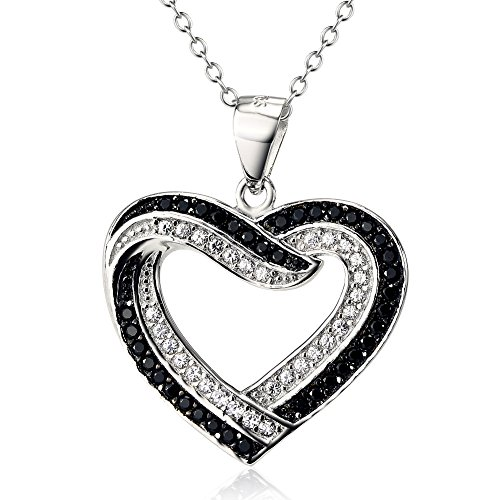 Two Tone 925 Sterling Silver Infinite Love Heart Pendant with CZ Necklace For Women, 18