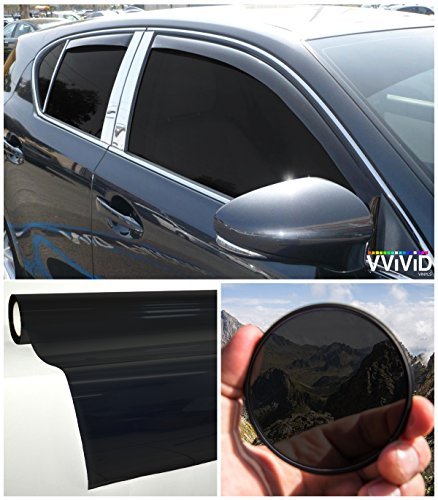 VViViD Colorful Transparent Vinyl Car Window Tinting 30 Inch x 60 Inch 2 Roll Pack (Dark Black)