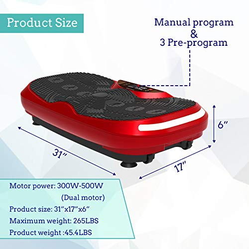 Murtisol 3D Vibration Platform Power Plate with Dual Motor - Whole Body Fitness Vibration Platform Machine with LED Touch Screen,Bluetooth Music,Remote Control & Resistance Bands & LED Light by Murtisol (Image #5)