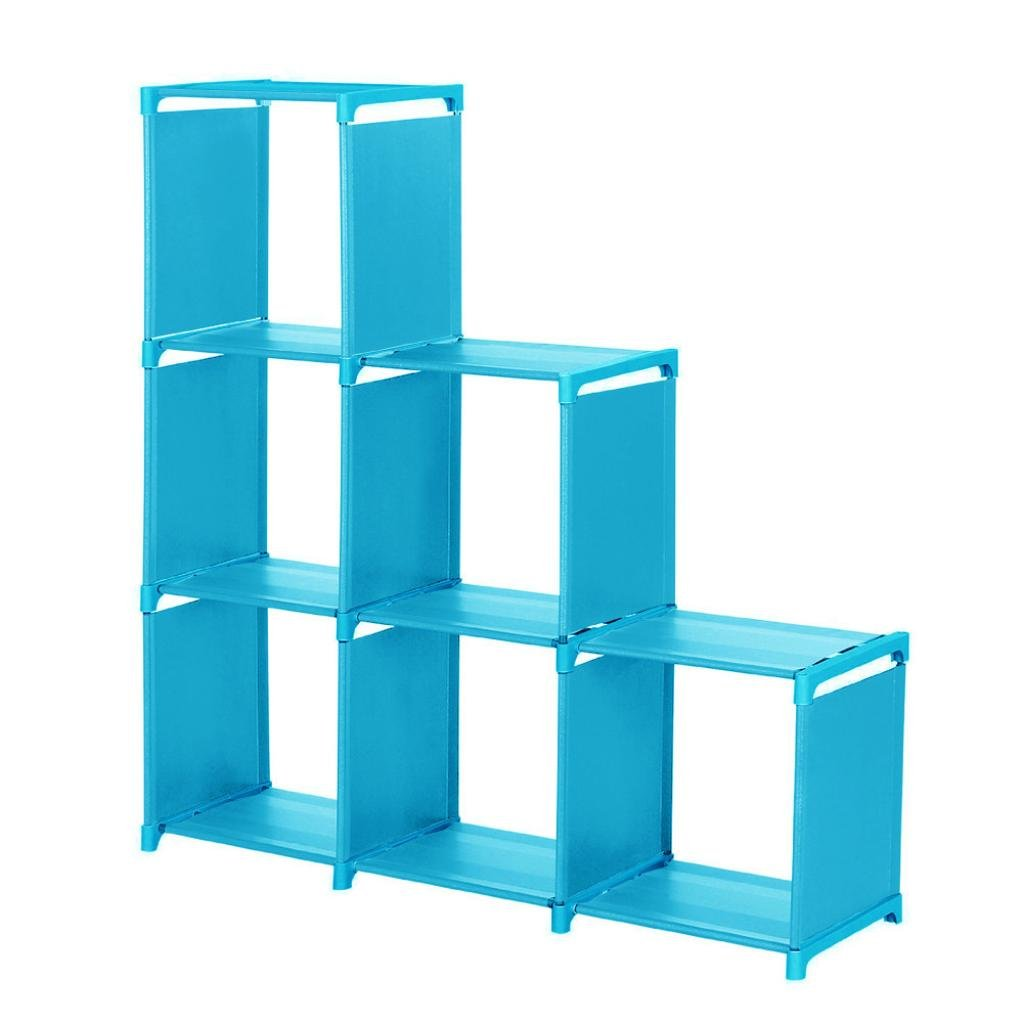 iMakcc 3-Tier Storage Cube Closet Organizer Shelf 6-Cube Cabinet Bookcase Space-Save (Blue)