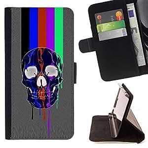 BullDog Case - FOR/Samsung Galaxy S3 Mini I8190Samsung Galaxy S3 Mini I8190 / - / RAINBOW TV SKULL GREY PATTERN LINES /- Monedero de cuero de la PU Llevar cubierta de la caja con el ID Credit Card Slots Flip funda de cuer
