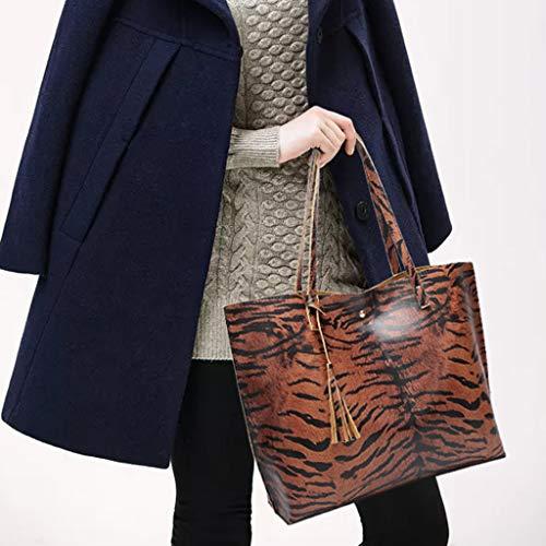 Borse Coffee Borsa spalla Ladies da grande tracolla donna Tote Hasp a Hand zi Fashion Borsa a Qingxia nappa Tiger Pelle CgCrH