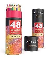 ARTEZA Lápices de dibujo de colores   Pack de 48 lapiceros de madera ergonómicos con forma triangular   Lápices de colores   Afilados de fábrica