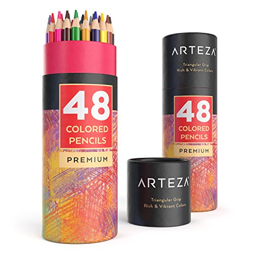 ARTEZA Colored Pencils Set, 48 Colors with Color Names, Triangular shaped, Pre sharpened, Soft Wax-Based Cores, Vibrant Artist Pencils Ideal for Drawing Art, Sketching, Shading & Coloring