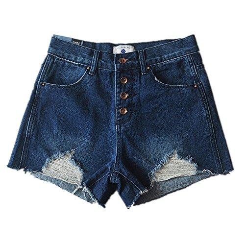 Oudan Femme Shorts Dechir Vintage Sexy Jeans Court Taille Haute Boutonn Bleu