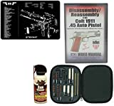 AGI DVD COLT 1911 .45 AUTO Pistol Disassembly and Reassembly + Ultimate Arms Gear Gun Mat + 17pc Handgun Pistol Cleaning Kit Brushes, Swab, Tips & Patches + Cleaner Spray
