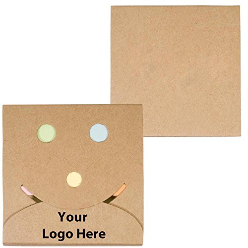 (Smiley Sticky Note Pack - 200 Quantity - $0.99 Each - PROMOTIONAL PRODUCT/BULK/Branded with YOUR LOGO/CUSTOMIZED)