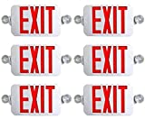 6 PACK TBF All LED Decorative Red White Exit Sign & Emergency Light Combo with Battery Backup (White/Red)