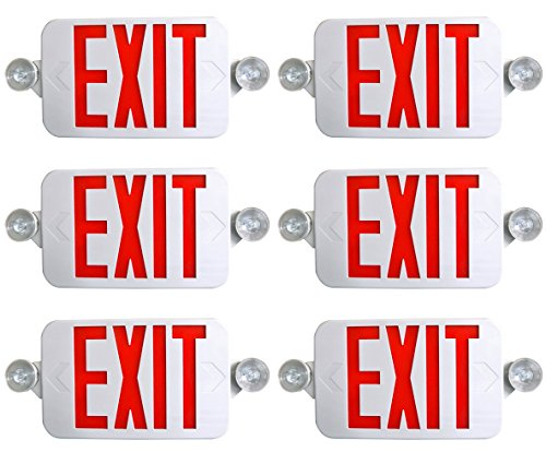 Supreme LED 6 PACK All LED Decorative Red White Exit Sign & Emergency Light Combo with Battery Backup (6 Pack) (White Exit Sign)