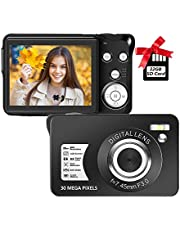 $45 » Digital Camera 2.7 Inch LCD Rechargeable HD Digital Camera Compact Camera Pocket Digital Cameras 30 Mega Pixels with 8X Zoom for Adult Seniors Students Kids with 32GB SD Card(1 Battery Included)