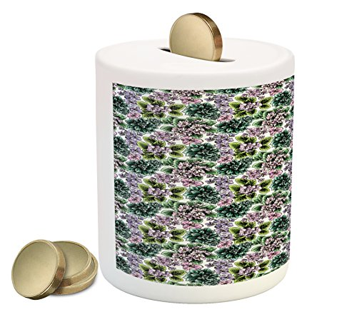 Violet Flowering African (Ambesonne Floral Coin Box Bank, Flowering Plants Gardening African Violet Peonies Hydrangea Foliage Illustration, Printed Ceramic Coin Bank Money Box for Cash Saving, Multicolor)