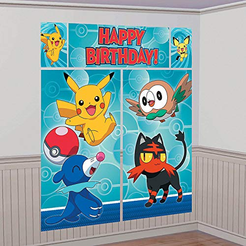 Fun Express - Pikachu & Friends Scene Setter (5pc) for Birthday - Party Supplies - Licensed Tableware - Misc Licensed Tableware - Birthday - 5 Pieces