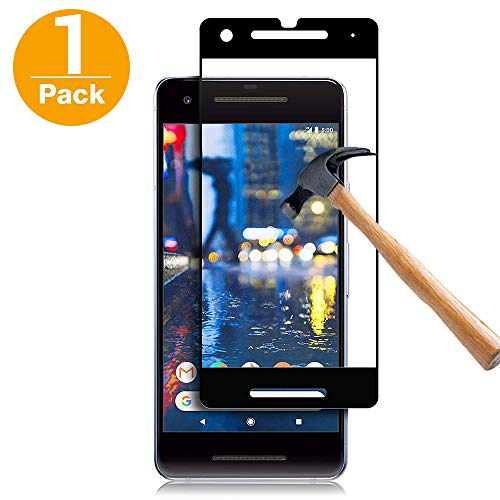 Screen Protector for Google Pixel 2,Habyby [Full Coverage] [Case Friendly] [Japan Glass with 9H Hardness] Anti-Scratch, Bubble Free Tempered Glass with Dot Matrix
