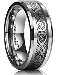 king will dragon men tungsten carbide ring wedding band 8mm silver celtic dragon inlay polish finish - Black Wedding Rings For Men