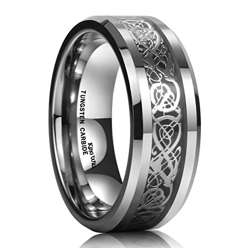 King Will Men Tungsten Carbide Ring Wedding Band 8mm Silver Celtic Dragon Inlay Polish Finish 9.5