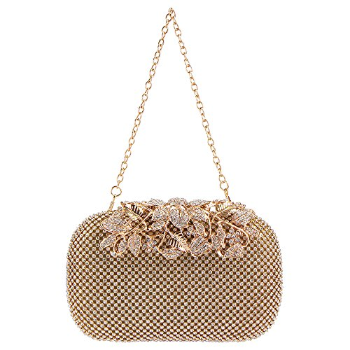 Gold Purse Crystal Handbags Rhinestones Bagood Clutch Flower Evening qP0xzwt