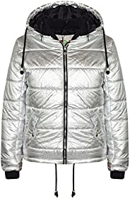 Girls Jacket Kids Bella Metallic Foil Hooded Padded Quilted Puffer Jackets 5-13