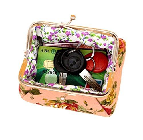 Bolsa de Mano Cartera de Lienzo, Holacha Mini Monodero Clutch de Flores para Mujeres Chicas Rosa