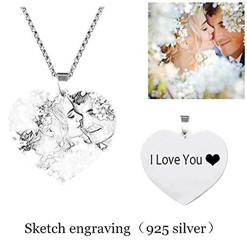 Personalized Photo Necklace Customize Pendant Portrait Necklace Dog Tag Memorial Jewelry Christmas Gift Siver Heart-Sketch engraving26.0 (Heart Pendant Necklace Portrait)