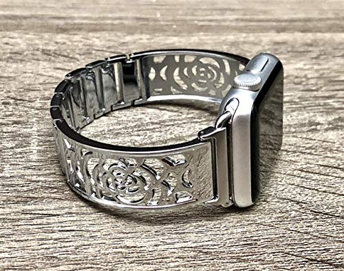 - Silver Metal Band For Apple Watch Series 4 3 2 1 38mm 40mm 42mm 44mm Handmade Floral Design iWatch Bracelet Adjustable Size Wristband Fashion Jewelry Women Bangle